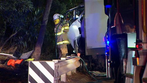 The B-Double driver remains in a critical condition. (9NEWS)