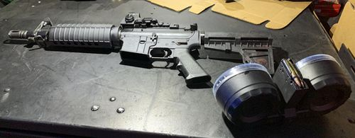 Dayton Police Department shows firearm used by Connor Betts in a mass shooting in a popular entertainment district on August 4, 2019, in Dayton, Ohio.