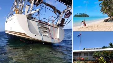 A photo of the Zero, run aground on a Western Australian island reef; and scenes from the Cook Islands, where the yacht was registered.