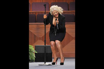 Social media went wild when Christina belted out a song at Etta James' funeral, but not for the right reasons. All eyes were glued to the mysterious dark liquid dripping down her leg, later confirmed to be rogue fake tan streaks. Tip: let it dry before donning a skirt!