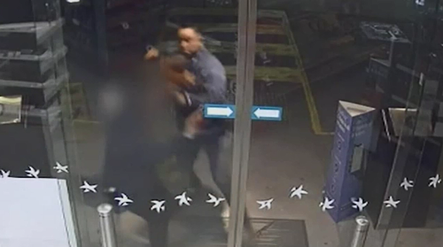 Horrific vision shows 38-year-old Dider Lam Kee Shau attacking a woman outside a service station.