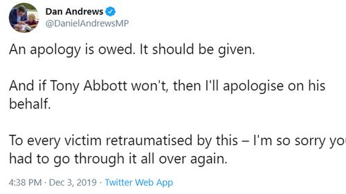 Daniel Andrews has called for an apology.