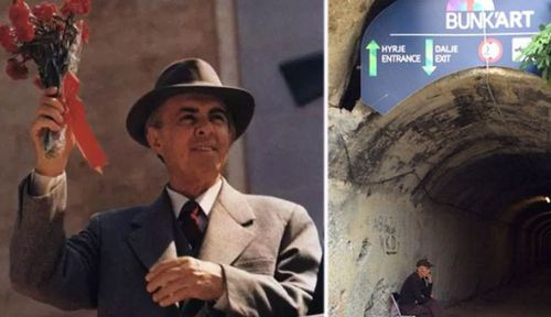 Albanian dictator Enver Hoxha and the entrance to Bunker'Art1.