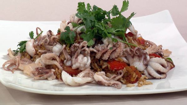 Bbq marinated octopus with tomato rice