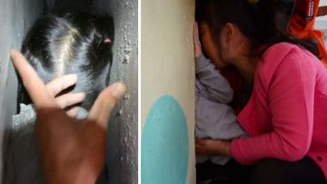 Delicate mission to rescue girl with head stuck between walls