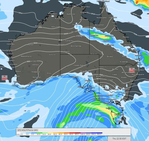 The chilly conditions are forecast to bring blizzard-like weather, wind gusts of up to 110km/h and heavy rainfall. Picture: Weatherzone.