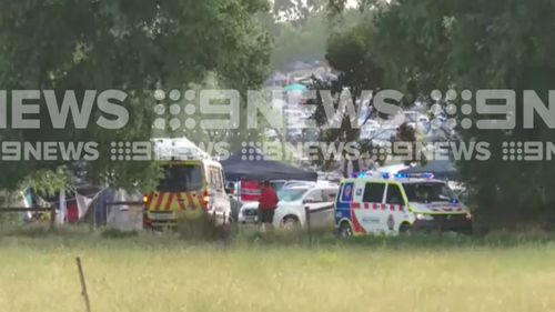 Emergency services at the scene yesterday. (9NEWS)