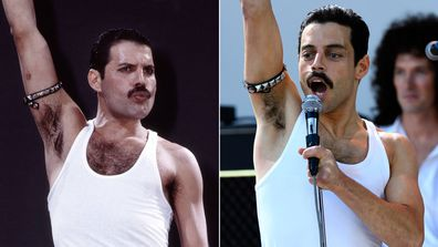 Freddie Mercury and Rami Malek
