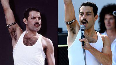 Freddie Mercury and Rami Malek