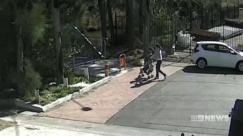 CCTV of the incident show the girl's mother pushing her through the park in a stroller.