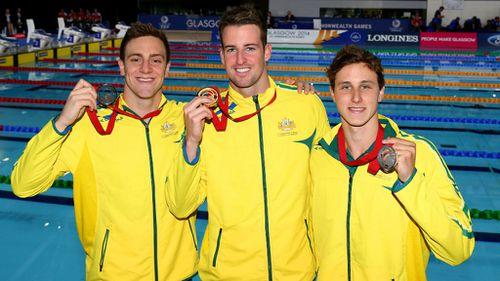 Fellow Australians James Magnussen with silver medallist Cameron McEvoy and bronze medallist Tommaso D'Orsogna.
