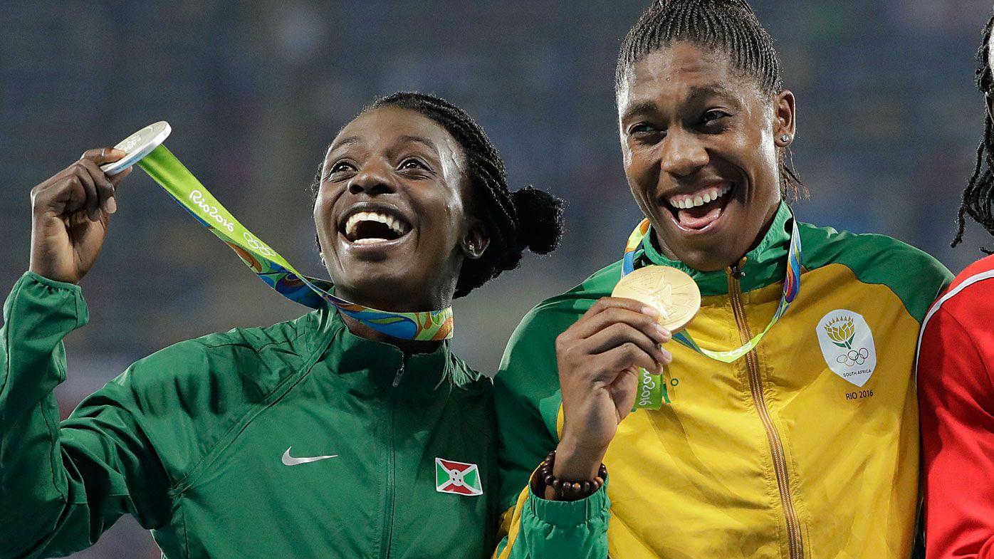 Medalist in the women's 800 meters, Burundi's Francine Niyonsaba and South Africa's Caster Semenya