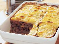 Layered potato and mince gratin