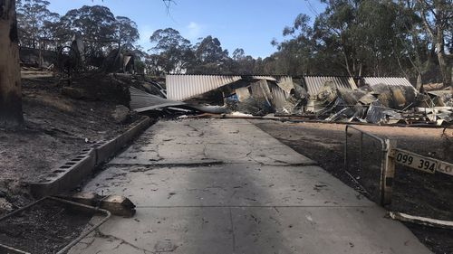 Burnt homes in the Adelaide Hills.