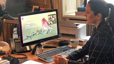 Princess Mary during a video call with the WWF World Wide Fund for Nature
