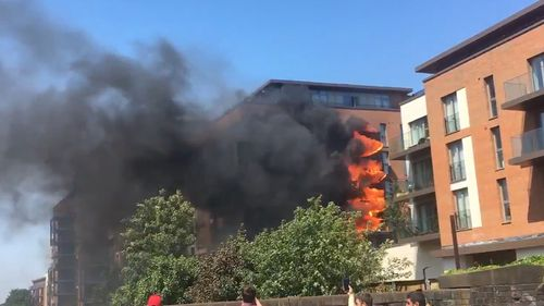 Fire engulfed the block of flats in West Hampstead. Picture: Twitter