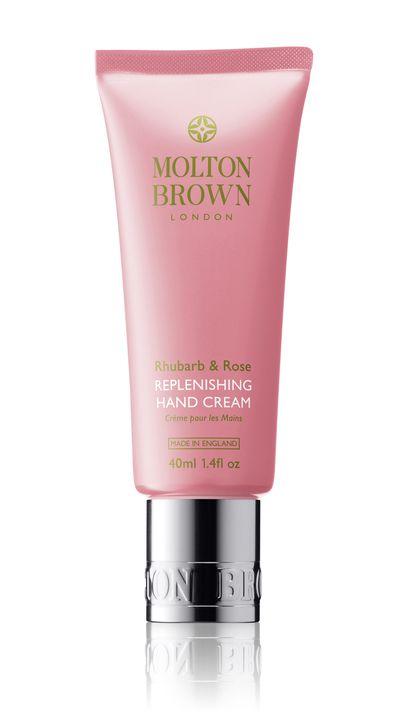 "<p><a href=""http://www.moltonbrown.com.au/store/hands/hand-creams/rhubarb-rose-replenishing-hand-cream/KTD069/"" target=""_blank"">Rhubarb &amp; Rose Replenishing Hand Cream, $15, Molton Brown</a></p>"
