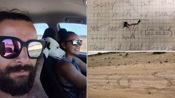 Jos��, 29, and Nicky, 32, were driving home to Cairns from Adelaide with their puppy Loki when they got bogged on an outback road.