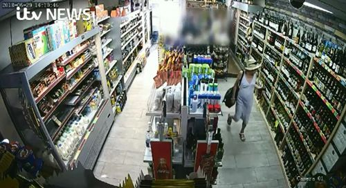 Dawn Sturgess is seen walking into a bottle shop top purchase some alcohol. Picture: ITV