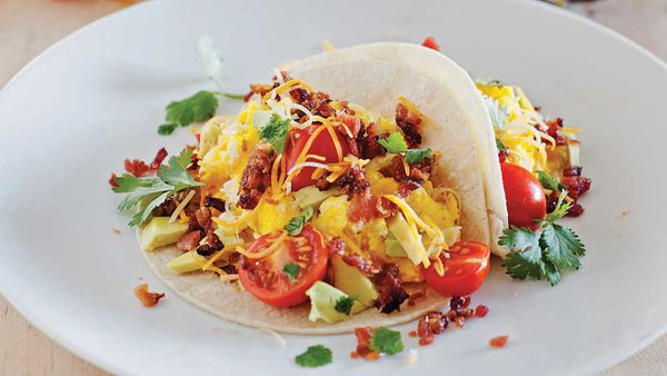 Bacon and egg breakfast taco