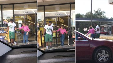 A Georgia teen has been photographed helping an elderly shopper after she fell on her way into a store. (Facebook/Connie Bell Jenkins Sweet)
