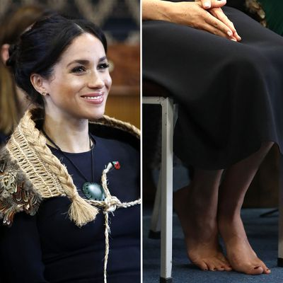 Meghan shows off bright toenail polish in New Zealand