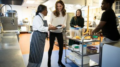 The Duchess of Cambridge Kate Middleton met with apprentices from the LEYF Chef Academy