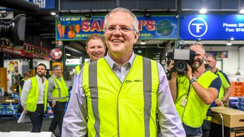 Scott Morrison at the Sydney Markets. (AAP)