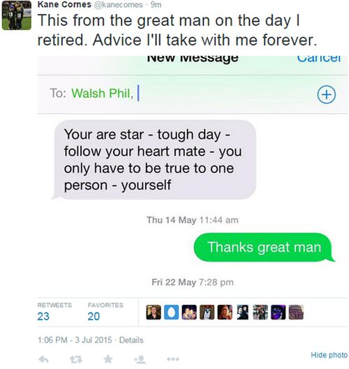 'Follow your heart mate': AFL player Kane Cornes shares inspirational text from Phil Walsh
