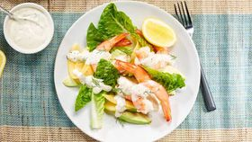 King prawn salad with mango and creme fraiche