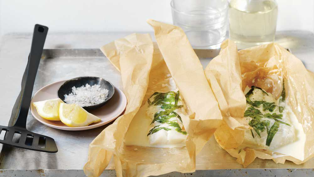 Fish in paper en papillote