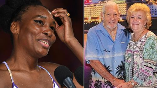 Venus Williams, and the victim of the crash Jerome Barson. (AAP, Facebook)
