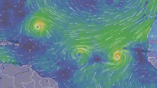 Florence, Isaac and Helene (L-R) are strengthening as they move across the Atlantic.