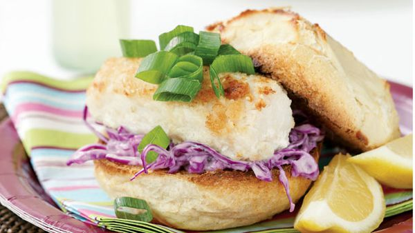 Fish burgers with wasabi coleslaw
