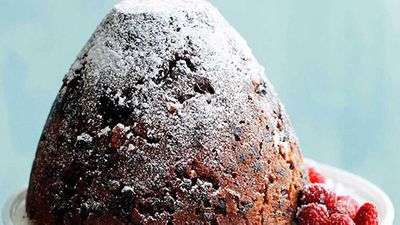 """Click through for our&nbsp;<a href=""""http://kitchen.nine.com.au/2016/05/16/19/01/rich-christmas-pudding-with-muscat-custard"""" target=""""_top"""">Rich Christmas pudding with muscat custard</a>&nbsp;recipe"""