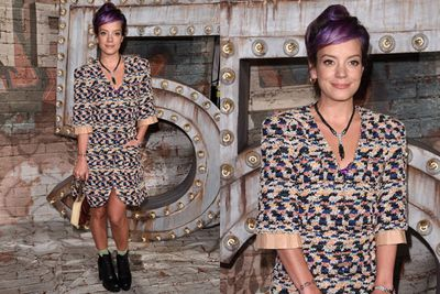 Lily Allen shows those models how it's done... with a pair of grunge army boots.
