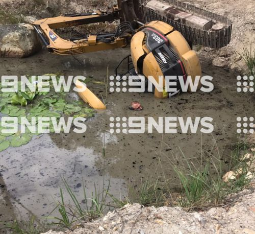 Firefighters had to drain the dam. (9NEWS)