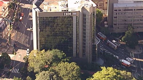 The fire broke out on the 13th floor of the IBM building. (9NEWS)