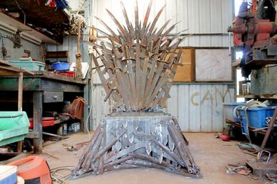 """<P _tmplitem=""""1"""">A NSW grandfather is the frontrunner to be Australia's biggest <I _tmplitem=""""1"""">Game of Thrones</I> fan, building an enormous iron throne replica that he is trying to sell for $25,000.</P> <P _tmplitem=""""1"""">At 300kg and more than 2m tall, Andrew Whitehead's throne is heavier than Hodor and the size of several stacked Tyrions. </P> <P _tmplitem=""""1"""">Story by <A href="""" http://www.9news.com.au/meet-the-team/online/kieran-campbell"""">Kieran Campbell</A>. All images supplied by <A href="""" https://www.facebook.com/AndrewWhiteheadSculptures"""">Andrew Whitehead</A>.</P> <P _tmplitem=""""1""""></P>"""