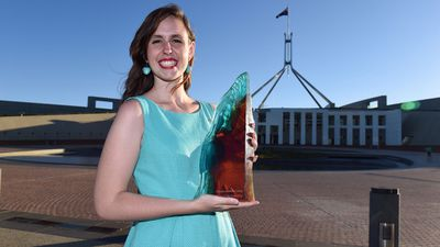 The 2015 Young Australian of the Year has been awarded to 21-year-old Drisana Levitzke-Gray from Balga in Western Australia who is an advocate for the human rights of deaf people. Ms Levitzke-Gray is the fifth generation in her family to be born deaf, and has deaf parents, a deaf brother and a deaf extended family. She has worked with communities in Europe and Samoa to expand human rights understanding of death youth and considered Auslan as a language of rich culture, history and traditions. Last year she became the first deaf Auslan user to sit on a jury. (AAP)