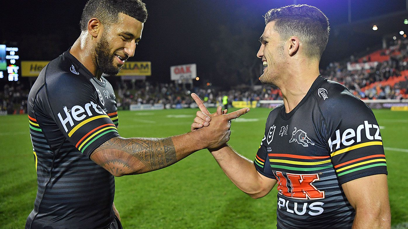Viliame Kikau (left) and Nathan Cleary of the Panthers celebrate