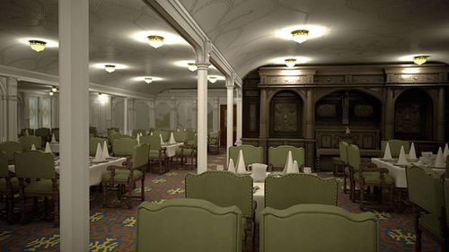 The first class dining room inside the ship has been designed to look the same as the original. (Blue Star Line)