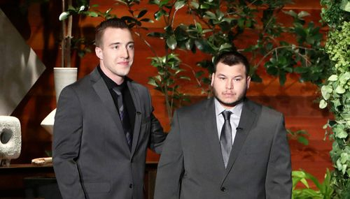"""Stephen Schuck, left, and Jesus Campos appear at a taping of """"The Ellen DeGeneres Show"""". (AP)"""
