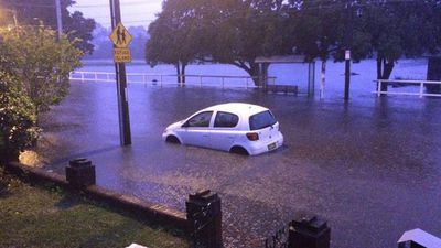 Illawarra Road in Marrickville was flooded after the deluge. (Peter Hayward)