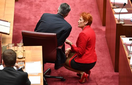 Mr Cormann chats with One Nation leader Pauline Hanson in the Senate chambers yesterday. Picture: AAP
