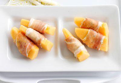"""Recipe: <a href=""""/recipes/iprosciutto/8348704/ricotta-stuffed-prosciutto-and-melon"""" target=""""_top"""">Ricotta stuffed prosciutto and melon</a>"""