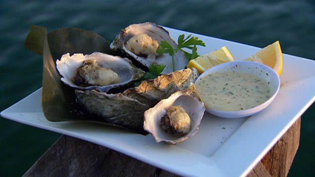Tempura oyster with wasabi mayo