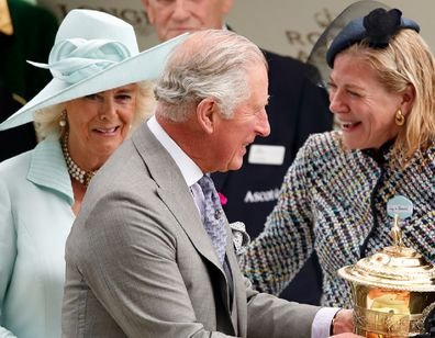 Charles and Camilla with Lynn Forester de Rothschild at Royal Ascot at Ascot Racecourse on June 19, 2019.