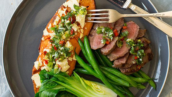 Nadia Lim's chargrilled rump steak with feta-roasted sweet potato