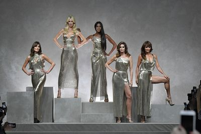 Carla Bruni, Claudia Schiffer, Naomi Campbell, Helena Christensen and Cindy Crawford for Versace S/S'18, September 2017